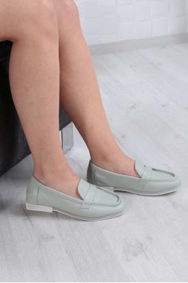 Hakiki Deri Mint Kadın Loafer Ayakkabı 211209101