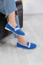 Hakiki Deri Mavi Süet-Bebe Mavi Kadın Loafer Ayakkabı 211209112