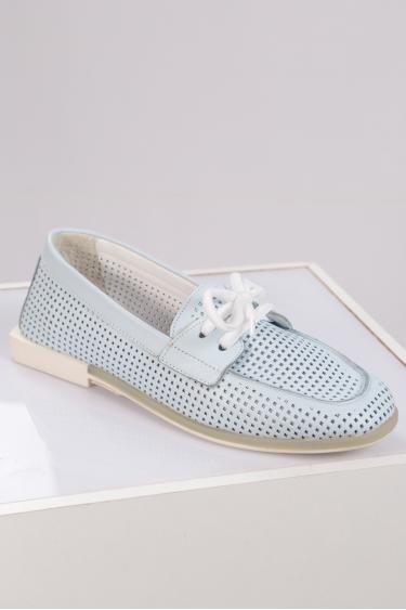 Hakiki Deri Bebe Mavi Kadın Loafer Ayakkabı 211209123