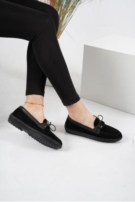 Hakiki Deri Siyah Süet Kadın Casual Ayakkabı 212209109