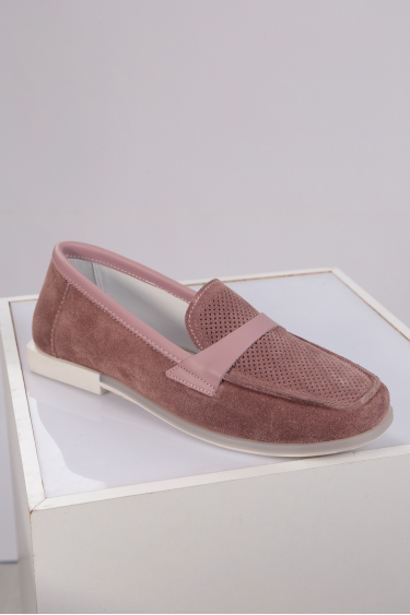 Hakiki Deri Koyu Pembe Süet-Pembe Kadın Loafer Ayakkabı 221209101
