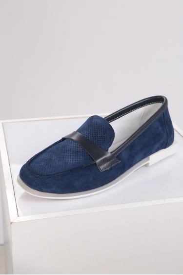 Hakiki Deri Lacivert Süet Kadın Loafer Ayakkabı 221209101