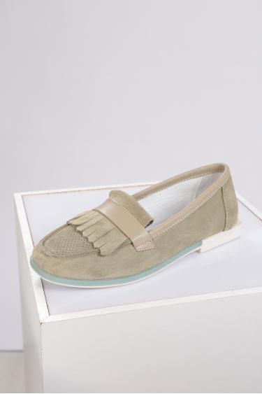 Hakiki Deri Avokado Süet Kadın Loafer Ayakkabı 221209102