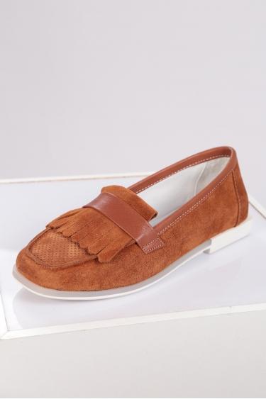 Hakiki Deri Whiskey Süet Kadın Loafer Ayakkabı 221209102