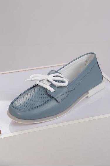 Hakiki Deri Kot Mavi Kadın Loafer Ayakkabı 221209103