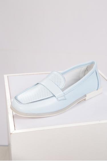 Hakiki Deri Bebe Mavi Kadın Loafer Ayakkabı 221209104