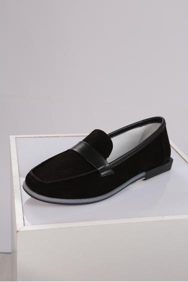 Hakiki Deri Siyah Süet-Siyah Kadın Loafer Ayakkabı 221209104