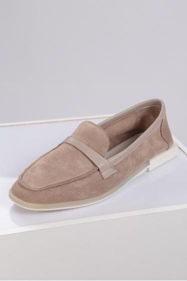 Hakiki Deri Kum Süet-Kum Kadın Loafer Ayakkabı 221209105