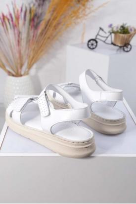 Hakiki Deri Beyaz Kadın Komfort Sandalet 211211501