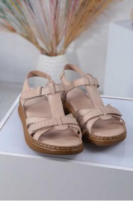 Hakiki Deri Bej Kadın Düz Sandalet 211211503