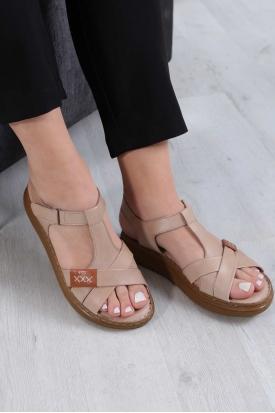 Hakiki Deri Bej Kadın Komfort Sandalet 211211508