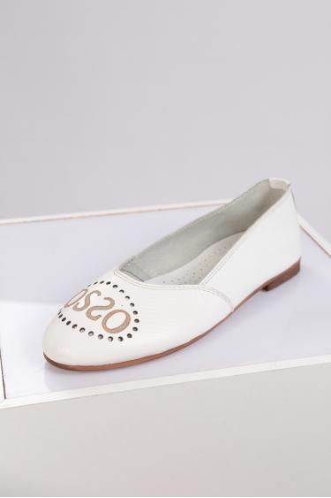 Hakiki Deri Beyaz Floter Kadın Babet Ayakkabı 221214101