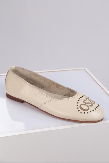 Hakiki Deri Krem Floter Kadın Babet Ayakkabı 221214101