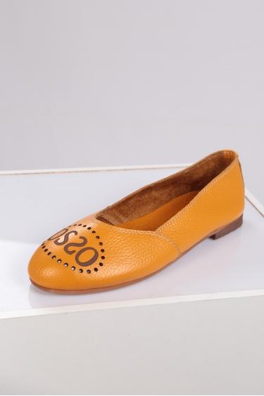 Hakiki Deri Sarı Floter Kadın Babet Ayakkabı 221214101
