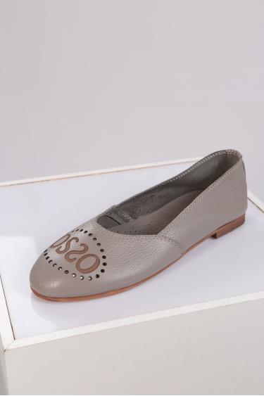 Hakiki Deri Koyu Pudra Kadın Babet Ayakkabı 221214101