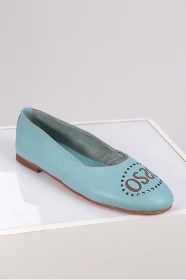 Hakiki Deri Bebe Mavi Floter Kadın Babet Ayakkabı 221214101