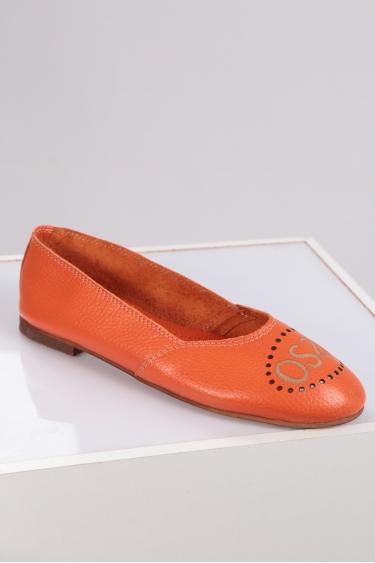 Hakiki Deri Turuncu Floter Kadın Babet Ayakkabı 221214101