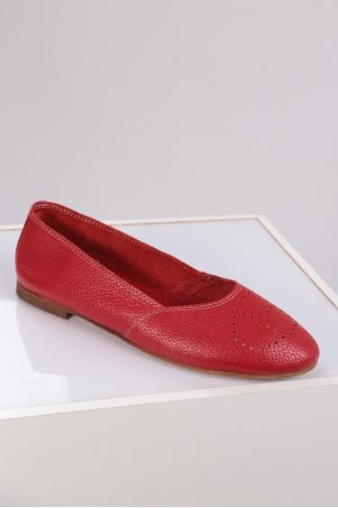 Hakiki Deri Kırmızı Floter Kadın Babet Ayakkabı 221214102