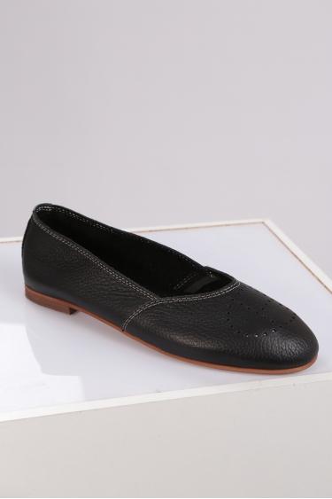 Hakiki Deri Siyah Floter Kadın Babet Ayakkabı 221214102