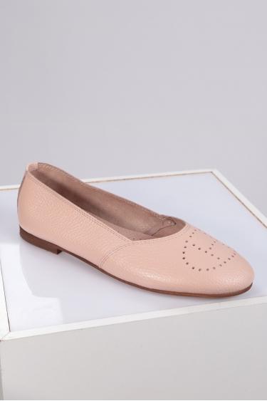 Hakiki Deri Pembe Floter Kadın Babet Ayakkabı 221214102