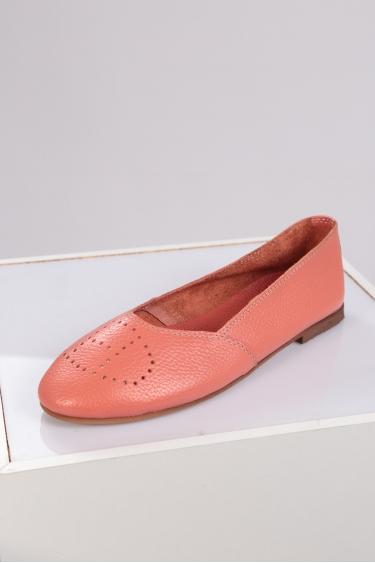 Hakiki Deri Mercan Floter Kadın Babet Ayakkabı 221214102