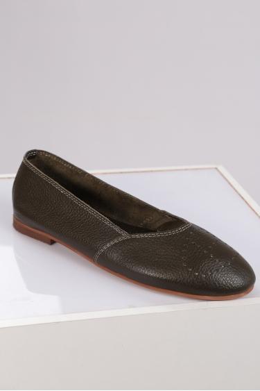Hakiki Deri Haki Floter Kadın Babet Ayakkabı 221214102