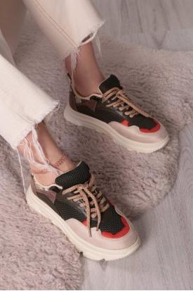 Bej Haki Yılan Kadın Sneaker Ayakkabı 211217107
