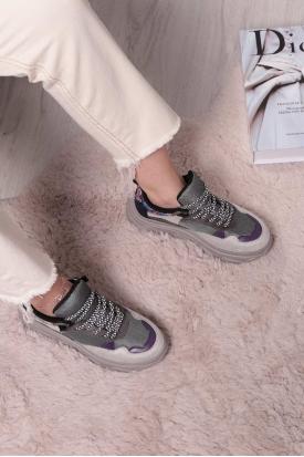 Gri Mor Yılan Kadın Sneaker Ayakkabı 211217107