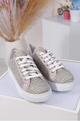 Gri Cilt Kadın Sneaker Ayakkabı 211217110