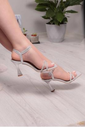 Gümüş Kadın Topuklu Sandalet 211217501