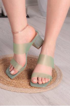 Yeşil Kadın Topuklu Terlik 211217601