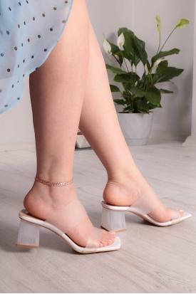 Beyaz Kadın Topuklu Terlik 211217601