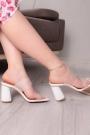 Beyaz Kırışık Rugan Kadın Yüksek Topuklu Terlik 211217602