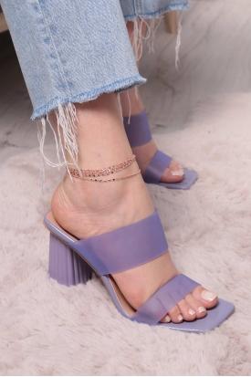 Lila Kırışık Rugan Kadın Yüksek Topuklu Terlik 211217602