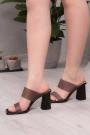 Siyah Kırışık Rugan Kadın Yüksek Topuklu Terlik 211217602