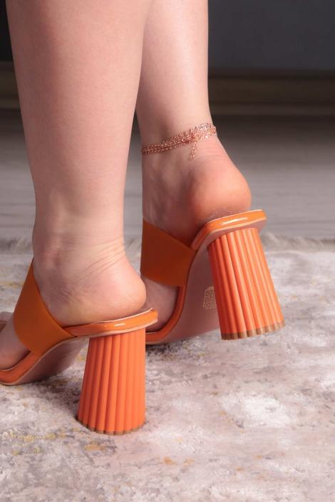 Turuncu Kırışık Rugan Kadın Yüksek Topuklu Terlik 211217602