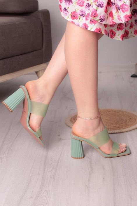 Yeşil Kırışık Rugan Kadın Yüksek Topuklu Terlik 211217602