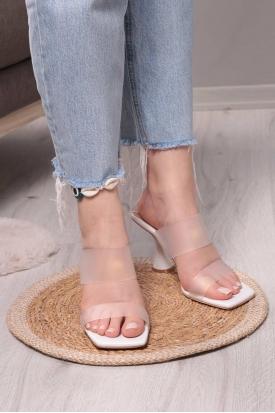 Beyaz Kadın Topuklu Terlik 211217604