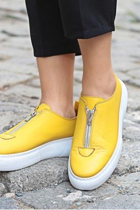 Hakiki Deri Sarı Kadın Sneaker Ayakkabı 222-1629