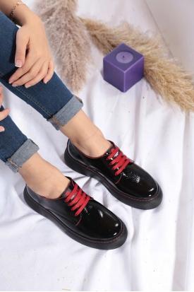 Hakiki Deri Siyah Rugan-Kırmızı Kadın Sneaker Ayakkabı 202222117