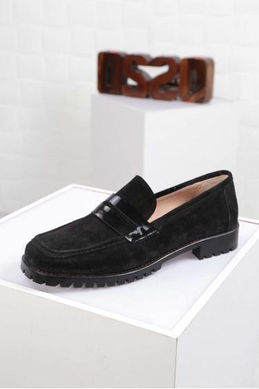 Hakiki Deri Siyah Süet-Siyah Rugan Kadın Oxford Ayakkabı 212222107