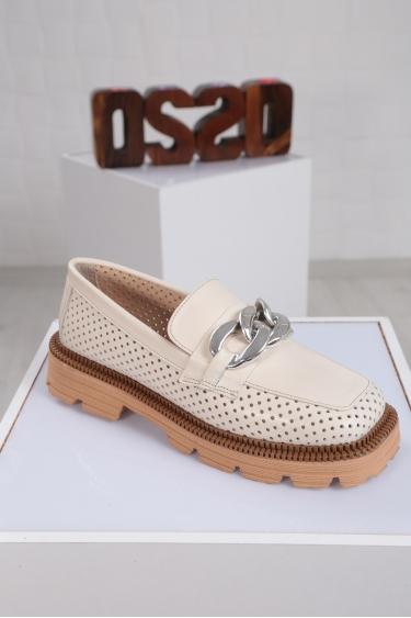 Hakiki Deri Krem Kadın Oxford Ayakkabı 221222103