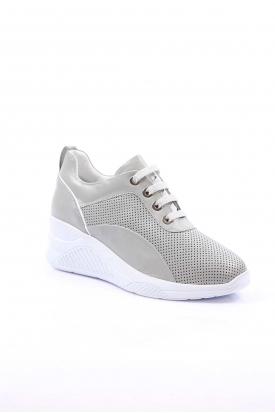 Hakiki Deri Gri Simli-Beyaz Kadın Sneaker Ayakkabı 225-1559