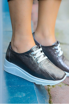 Hakiki Deri Çelik Kadın Sneaker Ayakkabı 225-976
