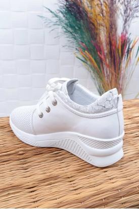 Hakiki Deri Beyaz-Gümüş Kadın Spor Ayakkabı 211225122