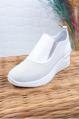 Hakiki Deri Beyaz Kadın Spor Ayakkabı 211225125