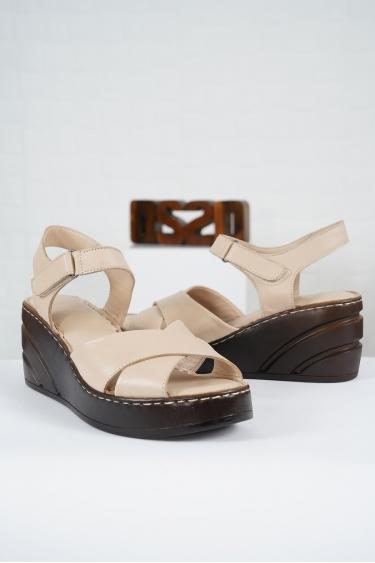 Hakiki Deri Bej Kadın Komfort Sandalet 221232510