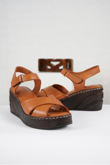 Hakiki Deri Taba Kadın Komfort Sandalet 221232510