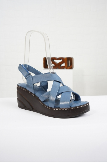 Hakiki Deri Kot Mavi Kadın Komfort Sandalet 221232511