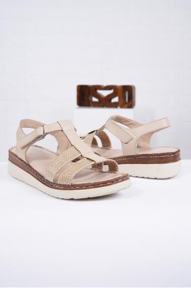Hakiki Deri Bej Kadın Komfort Sandalet 221232512